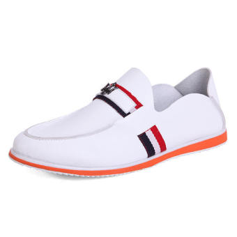 Casual Leather Driving Loafers - White