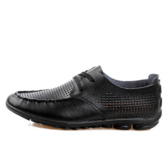 Casual Leather Fashion Loafers Shoes (Black)