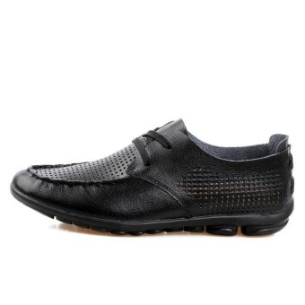 Casual Leather Fashion Loafers Shoes (Black) - picture 2