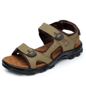 Casual Leather Sandals Khaki