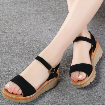 Casual leather thick bottomed female platform shoes sandals (Black)
