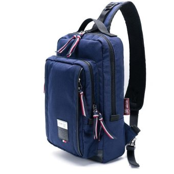 Casual Men Crossbody Messenger Bag For Pad Leather Sling SatchelChest Pack Bags 160016(Blue) - intl