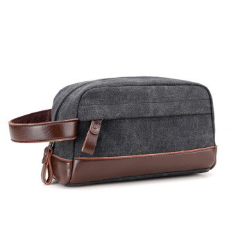 Casual men's canvas handbag clutch bag (Black)