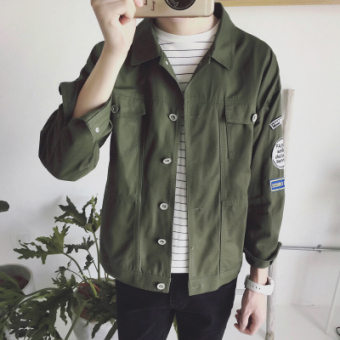 Casual men's New style Slim fit sports jacket denim jacket (Y61 dark green color)