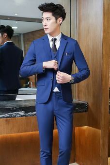 Casual men's Slim Fit Youth wedding dress (Dark blue color one-piece suit)