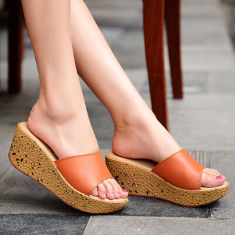 Casual muffin thick bottomed versatile slippers slanted heel slippers (Orange 003 orange)