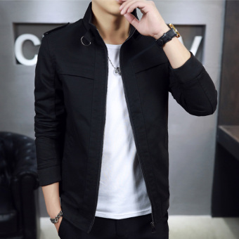 Casual New style autumn Slim fit thin jacket (Black)