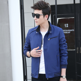 Casual New style Spring and Autumn thin jacket men's jacket (Blue [8801 models])