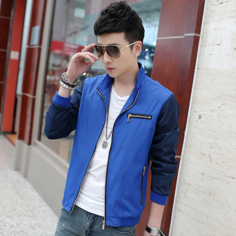 Casual New style Spring and Autumn thin jacket men's jacket (Sky Blue)