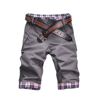 Casual Plaid Inter Men's Cropped Jean Pants For Leisure Trousers