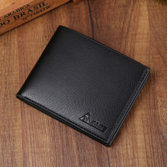 Casual PU leather genuine cross wallet men's short wallet (107 classic black)