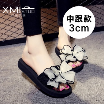Casual slip outerwear sandals slippers (7109 W semi-high heeled black white Cooljie)