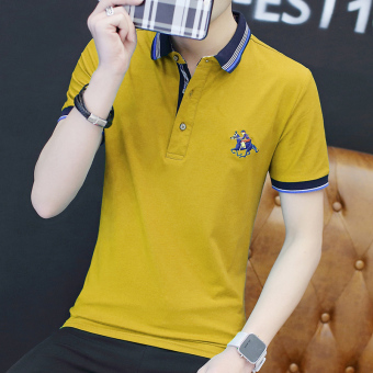 Casual solid color business Fold-down collar polo shirt men's T-shirt (Yellow)