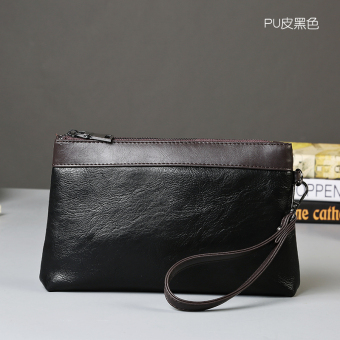 Casual summer will carry mobile phone bag clutch bag (Black PU Leather)