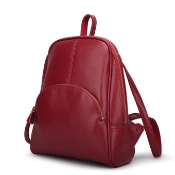 Casual Women PU Leather Backpack School Bag (Red) - intl - 2
