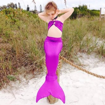 CatWalk 3PCS Girl Kids Mermaid Tail Costume Swimsuit Bikini Set3-8Years (Purple)