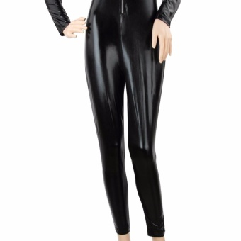 Catwoman Jumpsuit PU Leather Catwoman Costume Fancy Dress CatsuitHen Party Outfit Adult Cosplay Tight Bodysuit Zip Up Black - intl - 4
