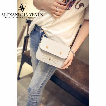Chain Strap Korean Fashion Bag Satchel Mini Bag Sling Bag Cat FaceStud Cross Body Bag Casual Gray Bag Alexandria