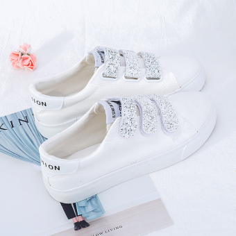 Chic autumn New style magic stickers white shoes (White)