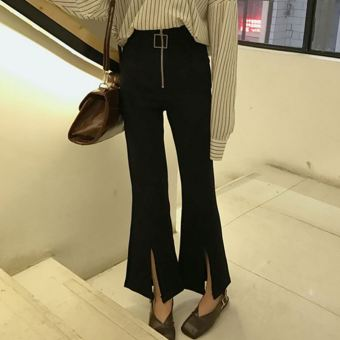 Chic Korean-style autumn wind high-waisted Bell-Bottom pants ankle-length pants