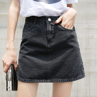 Chic Korean-style gray high-waisted student cowboy skirt