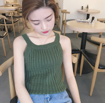 Chic retro knit New style halter vest Korean-style strap (Dark green color) (Dark green color)
