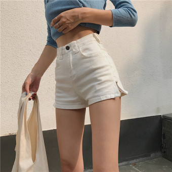 Chic retro style New style high-waisted Slim fit shorts (White)