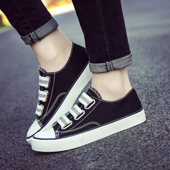 Chic versatile student super fire cloth shoes New style sail cloth shoes (Black)