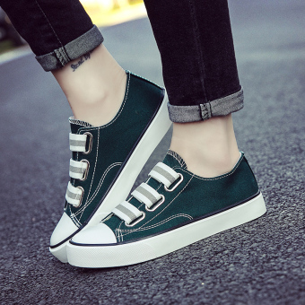 Chic versatile student super fire cloth shoes New style sail cloth shoes (Dark Green)