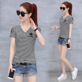 Chic women's short sleeved bottoming shirt T-shirt (Striped)