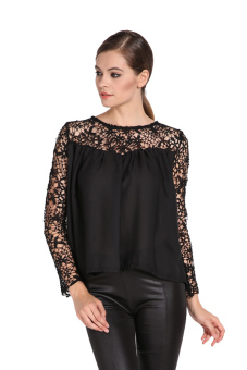 Chiffon Blouse Casual Lace Shirt (Black)