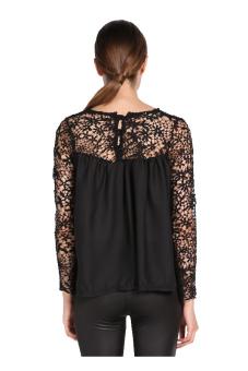 Chiffon Blouse Casual Lace Shirt (Black) - picture 2