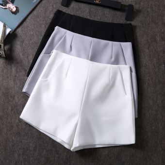Chiffon high-waisted suit casual shorts (Black)