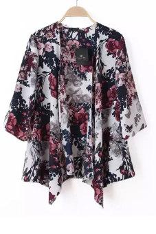 Chiffon Kimono Cardigan Floral Print (Multicolor)