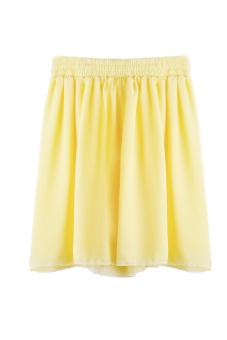 Chiffon Pleated Short Skirt (Yellow)