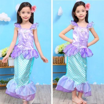 Children Baby Girl Clothes Little Mermaid Fancy Kids Girls Mermaid Dresses Princess Ariel Cosplay Halloween Costume mermaid-tail - intl - 3