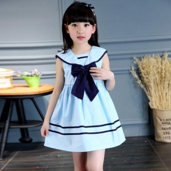 Children Girls Bowknot Sailor Dress Sleeveless Cotton Summer A-lineDresses(2-3yrs)- intl Price Philippines