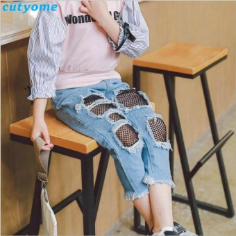 Children Ripped Jeans For Kids Girls With Mesh Baby Casual DenimPants For Girl Elastic Waist Ripped Trousers 3-8 Years - intl