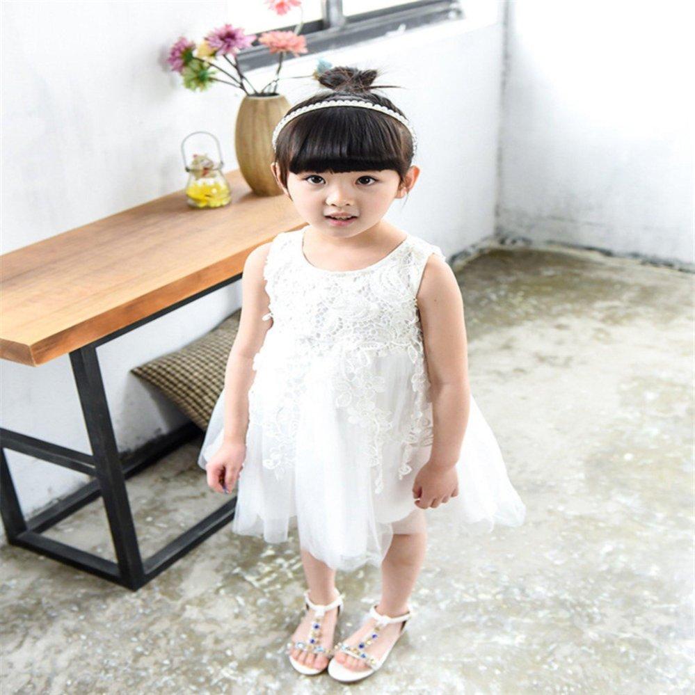 Philippines | Children Summer Solid White Lace Wedding Sleeveless ...