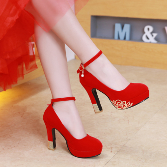 Chinese female New style red high heels wedding shoes (10 cm single strap)