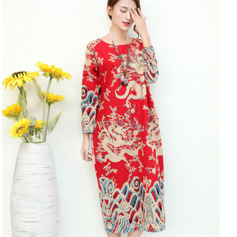 Chinese-style artistic cotton linen autumn Chinese long printed dress (Dark blue color)