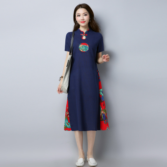 Chinese-style artistic cotton linen Pankou porous short sleeved dress cheongsam dress (Dark blue color) (Dark blue color)