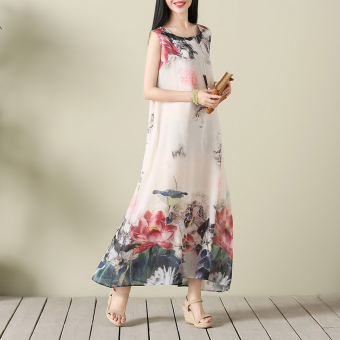 Chinese-style artistic summer ink painting printed vest skirt national wind dress