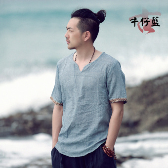 Chinese-style cotton linen summer short sleeved Plus-sized T-shirt (Cowboy blue)