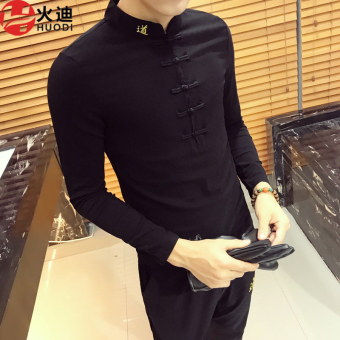 Chinese-style Korean-style men Slim fit slim fit base shirt v-neck t-shirt (Black)