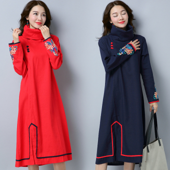 Chinese-style Linen autumn New style original high collar dress (Red)