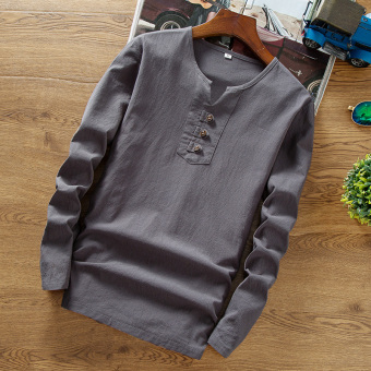 Chinese-style linen solid youth Plus-sized spring Top T-shirt (Gray)