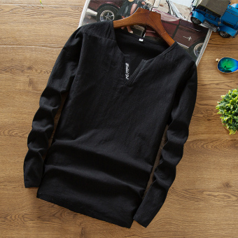 Chinese-style linen Spring and Autumn material T-shirt (Black)