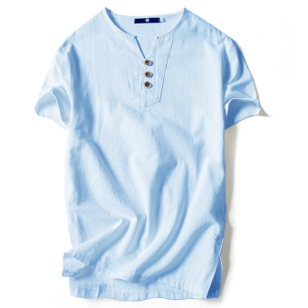 Chinese-style linen summer men's short sleeved t-shirt (T187 sky blue color (three button))