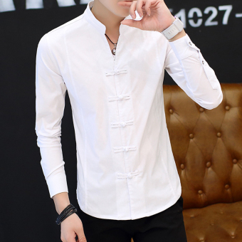 Chinese-style retro male long-sleeved men's Shirt shirt (9905 white)